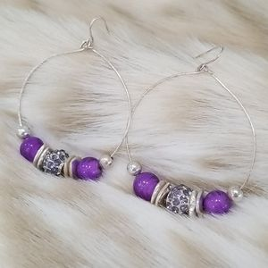 Purple and Silver Crystal Beaded Hoops